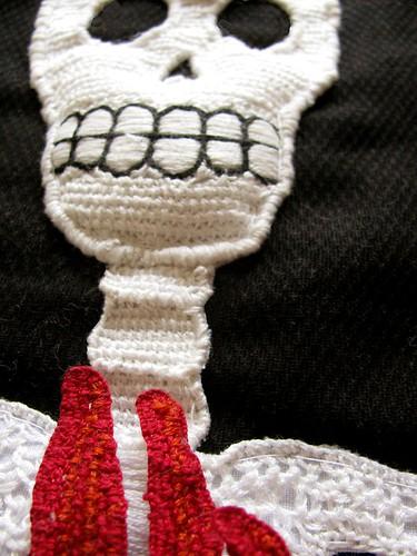 Stumpwork Skeleton-Fire Banner Detail3