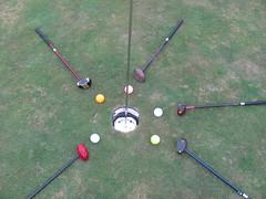 Park Golf Clubs, Balls and Hole