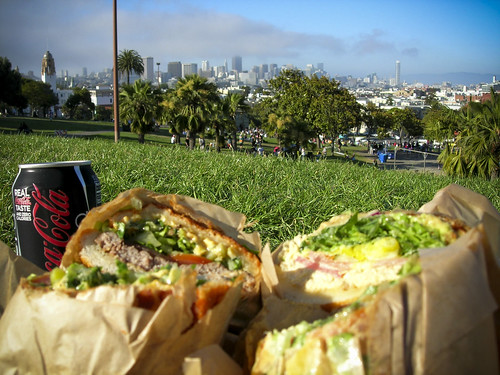 picnic in Dolores Park, sandwiches by Ike's Place