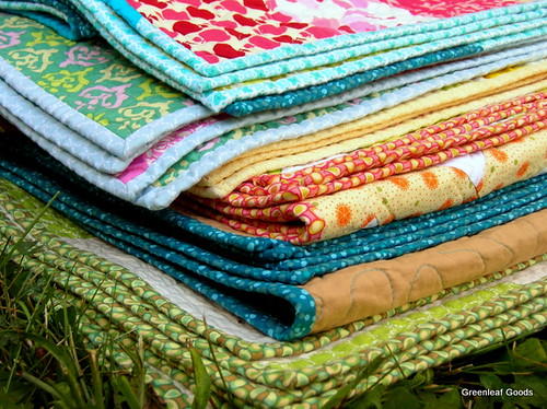 Stack of wedding quilts