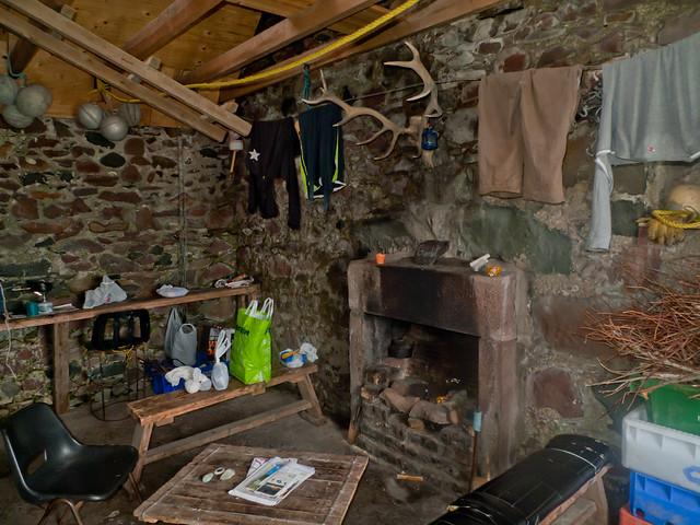 Inside Guirdil bothy: the main room