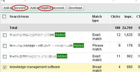 AdWords search query terms