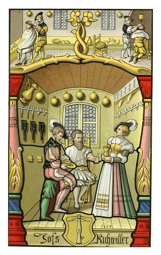 007-Barbero-peluquero vitral del siglo XV museo de Cluny Paris-Le moyen äge et la renaissance…Vol III-1848- Paul Lacroix y Ferdinand Séré