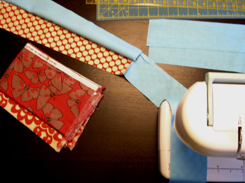 Piecing in Aqua & Red