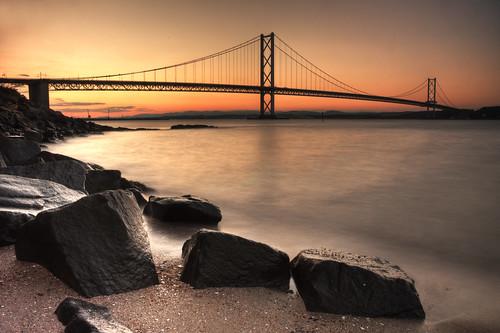 Forth Road Bridge sunset - Explored
