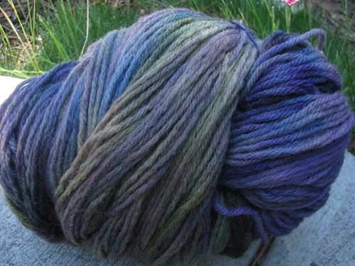 Handspun 4-Ply Domestic Wool Violet Blue Teal