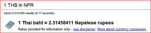 Currency conversion Google