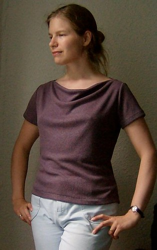 drape front purple tshirt