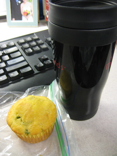 jalapeno cornbread muffin, coffee