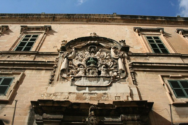 Coat of arms on the Auberge d'Italie building in Valletta Malta