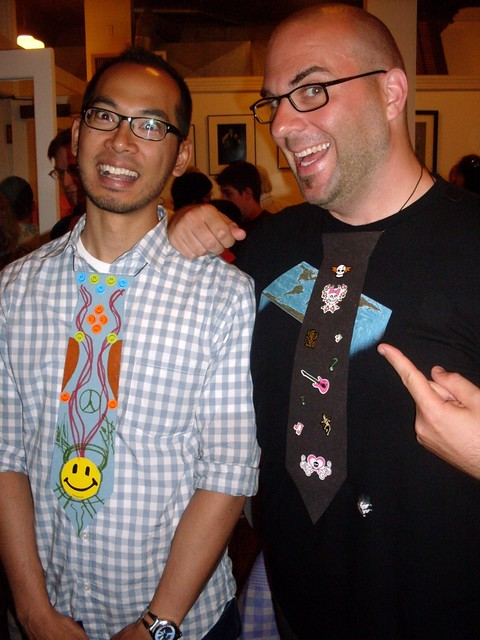 nite and jeff wearing paper ties