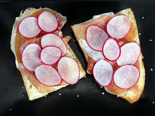 Prosciutto-Radish Sandwiches