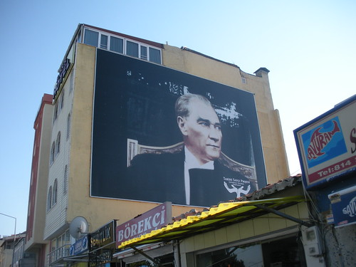 Mustafa Kemal Atatürk mural on building in Eceabat, Turkey