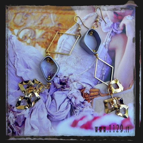 LLORVI orecchini dorati lilla - golden lilac earrings