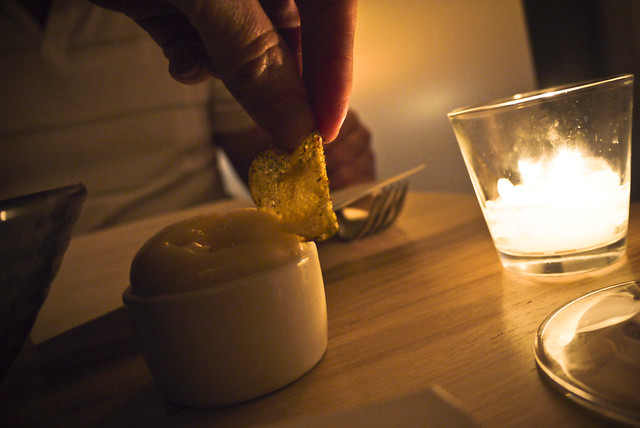 potato chips and vinegar foam at Commonwealth