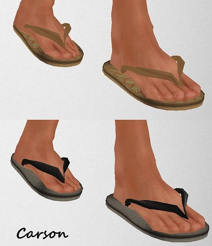MHOH4 # 61 - Shape It Up  Brown Weave & Black Weave Flip-Flops