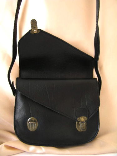 Handbag Black Leather Double Flap