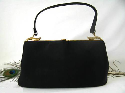 Handbag Black Felt Gold Crest 1