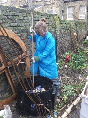 mixing compost