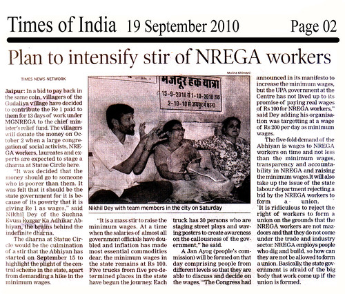 Times of India - 19 Sep 2010 - Plan to intensify stir of NREGA workers