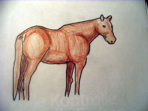 Horse painted with colored pencils