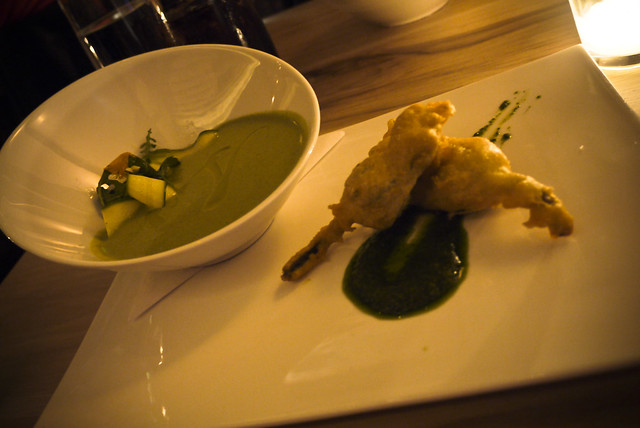 summer squash, chilled soup, fried squash blossoms, shaved salad, vadouvan
