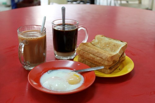 Kopi, Tea, Soft-boiled eggs and Kaya Toast