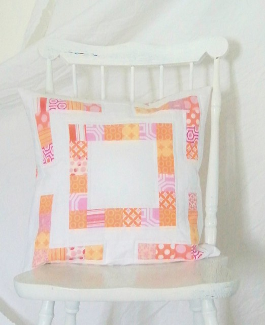 pink and orange modern patchwork pillow