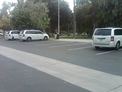 Empty parking lot at the Riverside stop