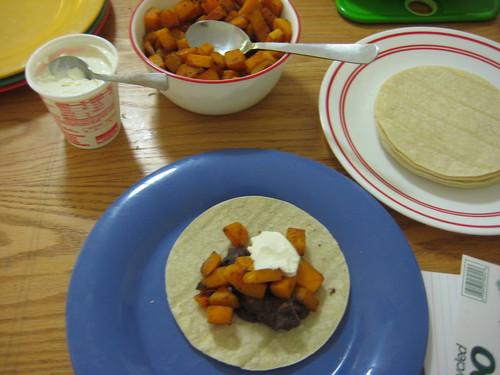 black bean and butternut squash tacos