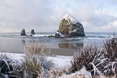 Haystack Rock with snow
