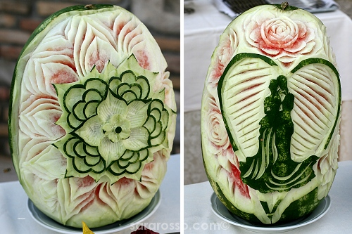 Carved watermelons at an Italian wedding