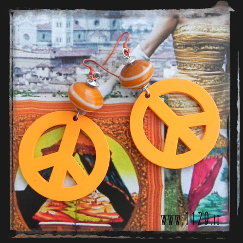 LIARPA orecchini simbolo pace arancio - orange peace earrings 1129