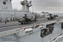 Apache Attack Helicopter Takes Off from HMS Ocean