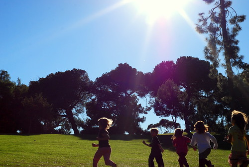 Happy Thing: Kids Playing in the Late Afternoon Sun