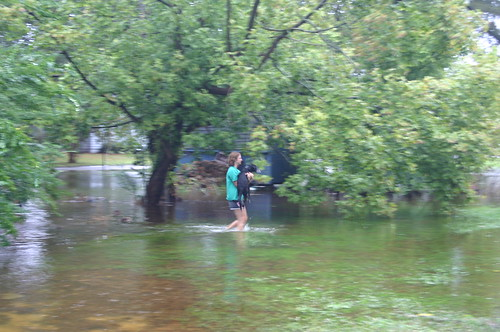 Elizabeth City - Flood - Vicky Carries Jimmie to Dry Land (By Ryan Somma)