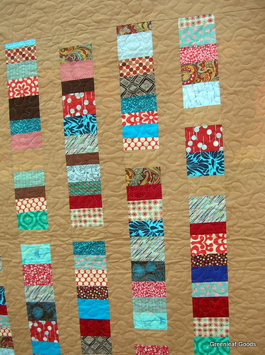 Detail of the front of the stacked coins quilt