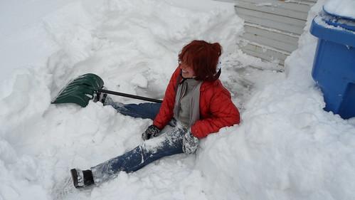 Cinnamon falls while shoveling - Chicago Blizzard 2011