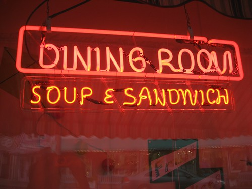 Neon Dining Room Soup & Sandwich