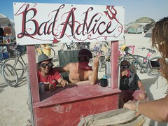 B.W. and J.Q. working ¿NISH!'s Bad Advice booth