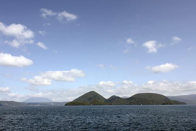 lake toya, with volcano
