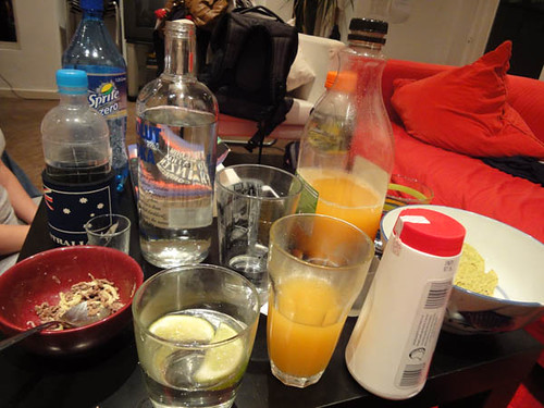 Pizza and vodka night: Vodka, juice, etc.
