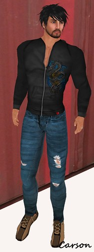 MHOH4 # 149 - Urban Republic Co.  Black Dragon Hooodie and Ripped Blue Jeans