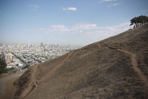 View from one bridge to the other at the top of Bernal Heights park