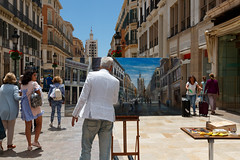 Pintor en la calle Larios