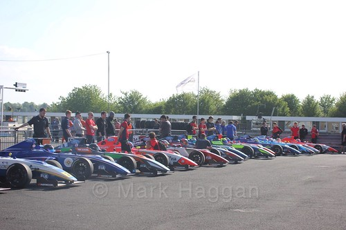 The British Formula Four cars and drivers at Thruxton, May 2017