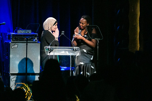 Activist Linda Sarsour presents honors to #BlackLivesMatter Co-founder Opal Tometi at WITNESS' 25th Anniversary Benefit