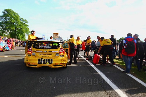 Luke Davenport on the BTCC grid at Oulton Park, May 2017
