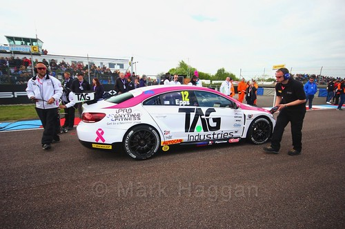 Mike Epps on the grid before the first BTCC race at Thruxton, May 2017