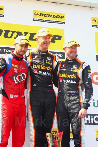 Matt Neal, Gordon Shedden and Jack Goff on the BTCC podium at Thruxon, May 2017